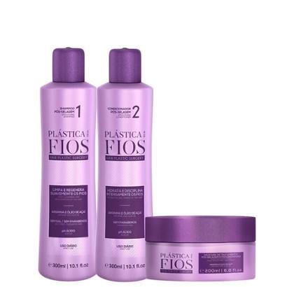 Kit Cadiveu Plástica dos Fios 1 Shampoo 300ml + 1 Condicionador 300ml + 1 Máscara 200ml