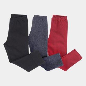 Kit Calça Legging Bebê Kyly Básica 3 Peças Feminino