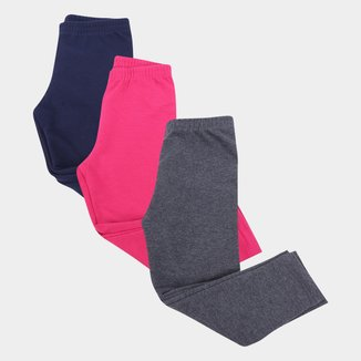 Kit Calça Legging Bebê Kyly Molicotton Lisa Feminina 3 Peças
