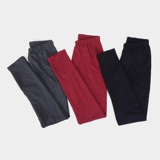 Kit Calça Legging Infantil Kyly Molicotton Lisa 3 Peças