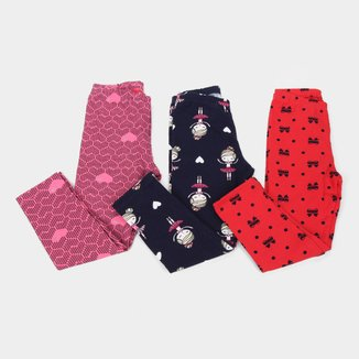 Kit Calça Legging Juvenil Kyly Molicotton Estampada 3 Peças