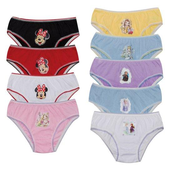 Kit Calcinha Infantil Evanilda Disney 9 Peças - Rosa+Branco