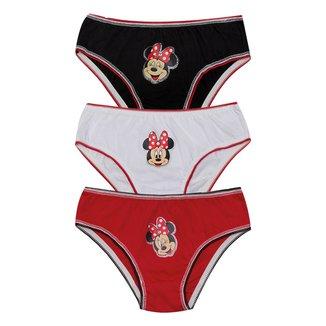 Kit Calcinha Infantil Evanilda Disney Minnie c/ 3 Peças
