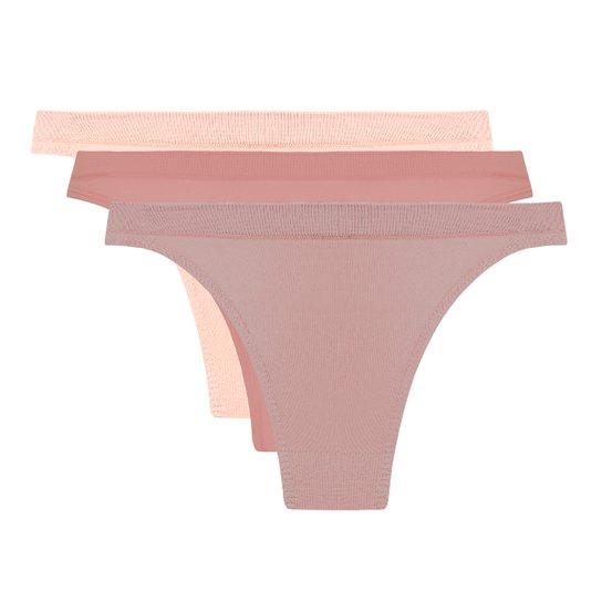 Kit Calcinha Trifil Tanga 3 Unidades - Rosa+Bege