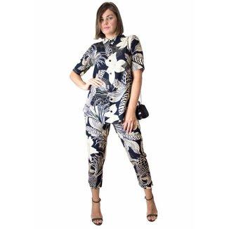 Kit Camisa Calça Feminina Modisch Floral Dark Estampa Casual