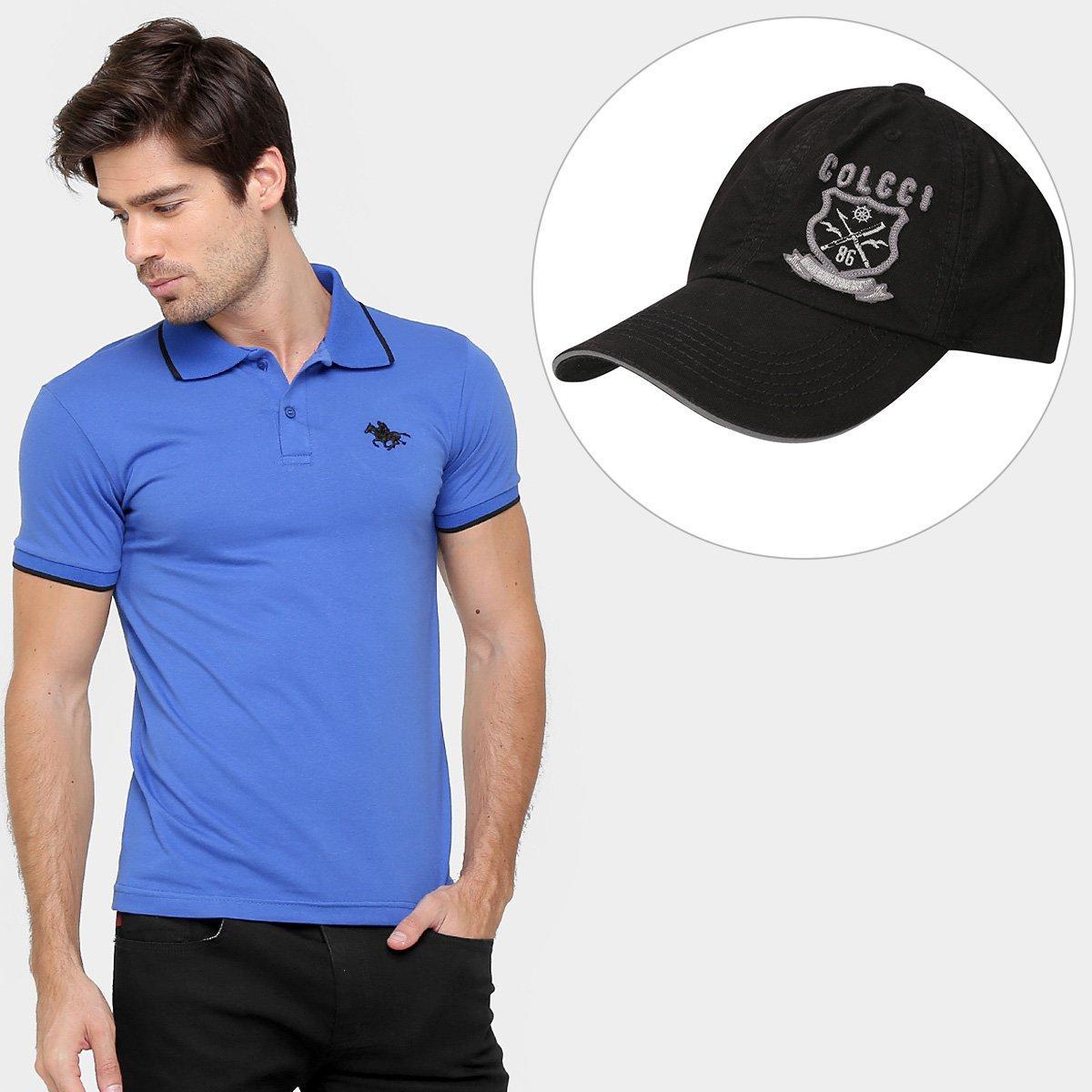 Kit Camisa Polo RG 518 Malha Friso Logo + Boné Colcci Aba Curva Brasão  Bordado ... b476b340dd1