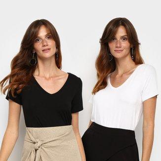 Kit Camiseta Avanzi Gola V 2 Peças Feminino