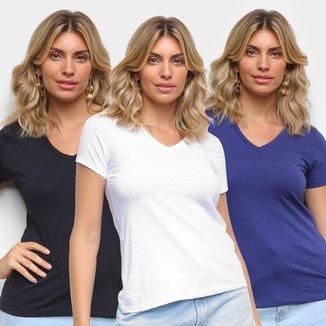 Kit Camiseta Básicos Gola V Lisa C/ 3 Peças Feminina