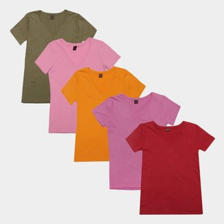 Kit Camiseta Básicos Gola V Lisa  C/ 5 Peças Feminina