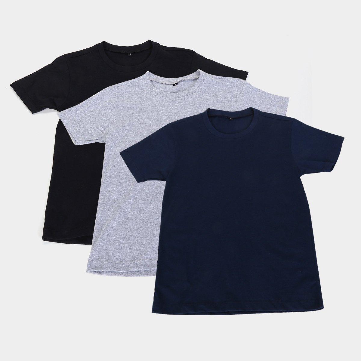Kit de camisetas básica Mangas - 3 Peças