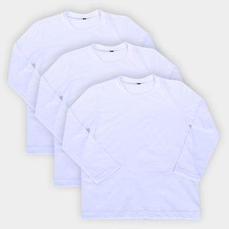 Kit Camiseta Bebê All Free Básica Manga Longa Masculina 3 Peças