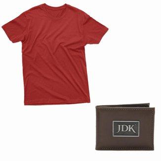 Kit Camiseta Bordo E Carteira Jdk Masculino