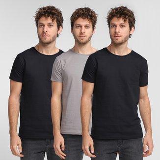 Kit Camiseta Burn Básica C/ 3 Peças Masculina
