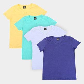 Kit Camiseta Burn Básica C/ 4 Peças Feminina