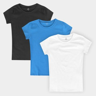 Kit Camiseta Burn Cotton Básica C/ 3 Peças Feminina