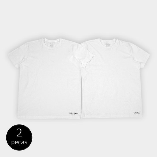 Kit Camiseta Calvin Klein Básica Masculina 2 Peças - Branco