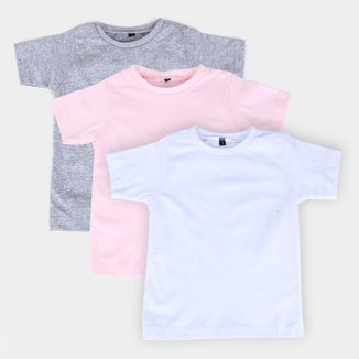 Kit Camiseta Infantil All Free Básica Manga Curta Masculina 3 Peças