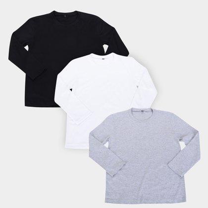 Kit Camiseta Infantil All Free Manga Longa Masculina 3 Peças