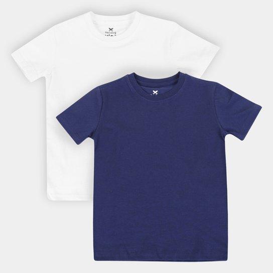 Kit Camiseta Infantil Hering Básica Masculina 2 Peças - Branco+Marinho