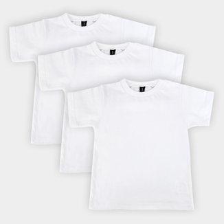 Kit Camiseta Manga Curta Bebê All Free Básica Masculina 3 Peças