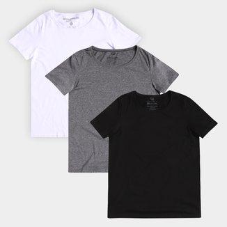 Kit Camisetas Basicamente Plus Size Babylook 3 Peças Feminino