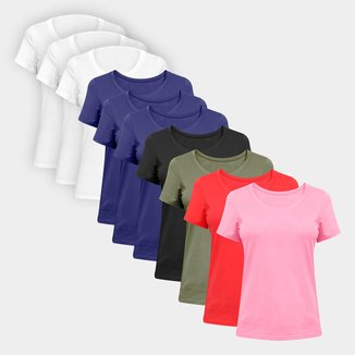 Kit Camisetas Volare Básicas Lisas Com 10 Peças Femininas