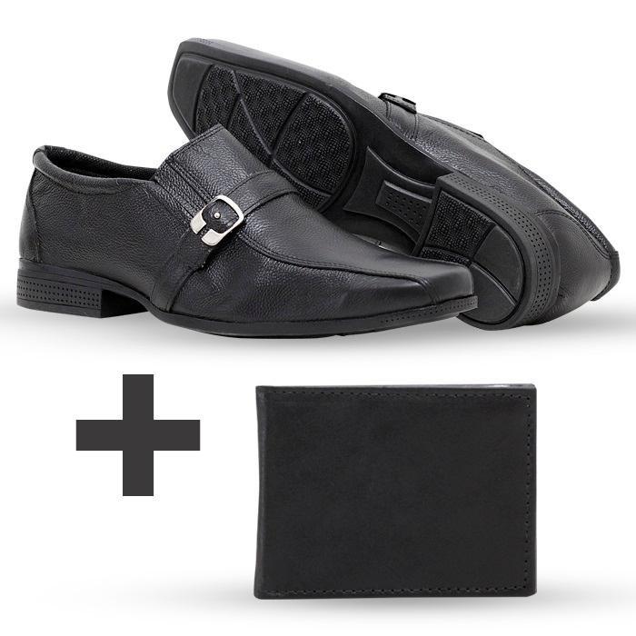 Flex Preto Masculino Sapato em Couro Kit Top Carteira Social wag7HWH0q