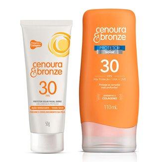 Kit Cenoura Bronze Protetor Solar Facial FPS30 50g + Protetor Solar Corporal FPS30 200ml