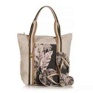 Kit Chinelo Blue Bags + Bolsa Shop Botanic Feminina