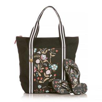 Kit Chinelo Blue Bags + Bolsa Shop Folk Feminino