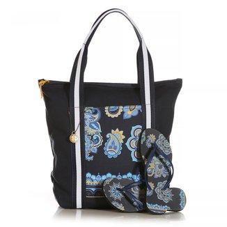 Kit  Chinelo Blue Bags + Bolsa Shop Mandala