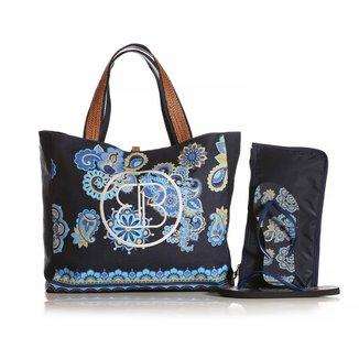 Kit Chinelo Blue Bags + Necessarie + Bolsa de Praia Mandala Feminina