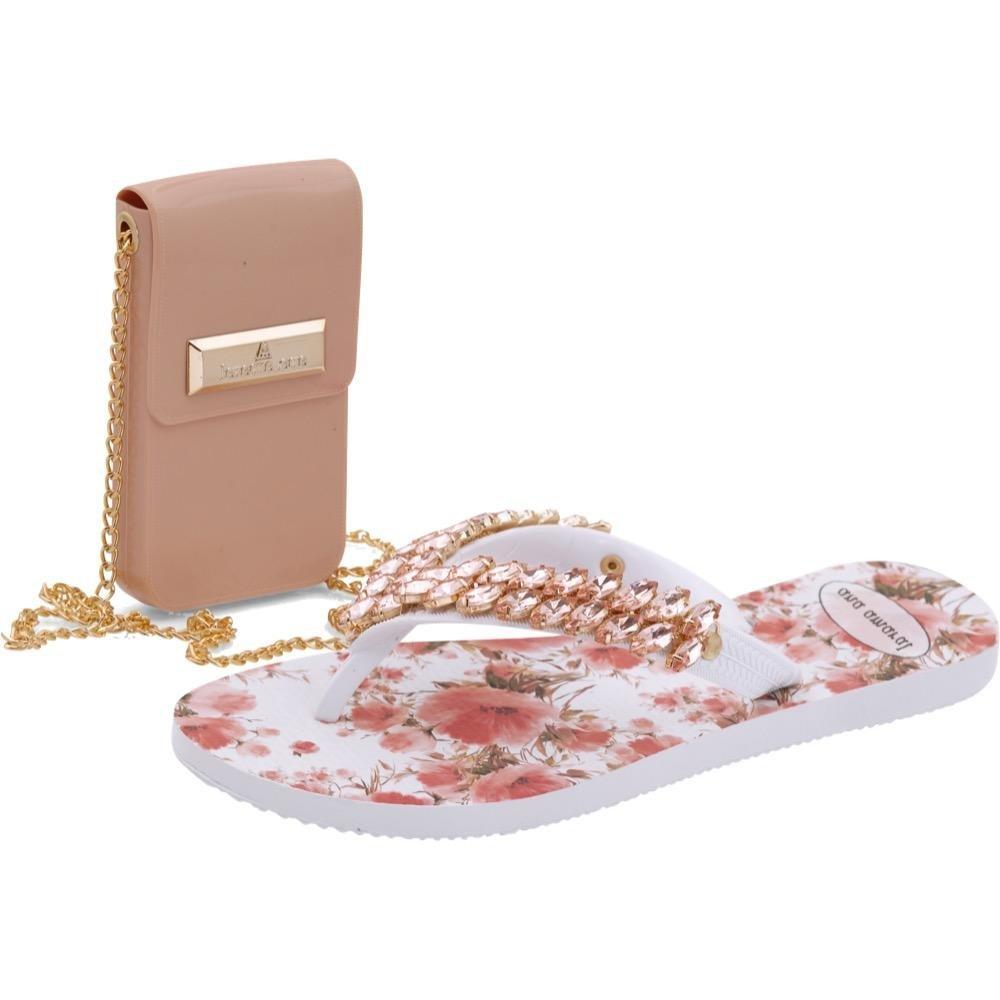 Ana Amaral Feminina e Bolsa Branco Kit Chinelo Rosa e aPzRn