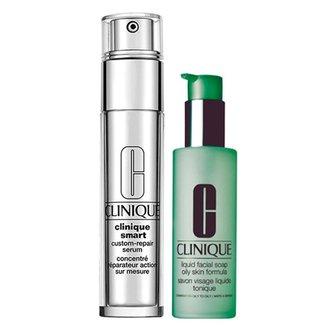 Kit Clinique Sabonete Líquido + Anti-Idade para Olhos Liquid Facial Soap Oily Skin + Smart Custom