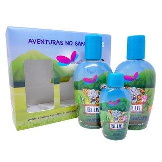 Kit Colônia Blue 60ml + Shampoo 200ml + Condicionador 200ml Delikad Kids Safari Blue