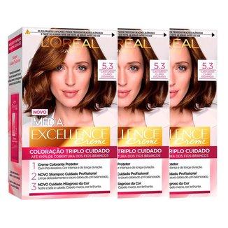Kit Coloração Imédia Excellence L'Oréal Paris 5.3 Cast. Cl. Dourado - 3 Unidades
