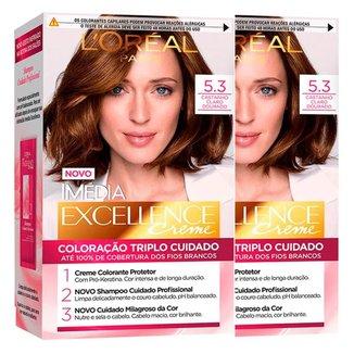 Kit Coloração Imédia Excellence L'Oréal Paris Kit 5.3 Cast. Cl. Dourado - 2 Unidades
