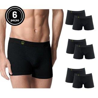 Kit com 6 Cuecas Supreme Black Logo Verde - Polo Match P
