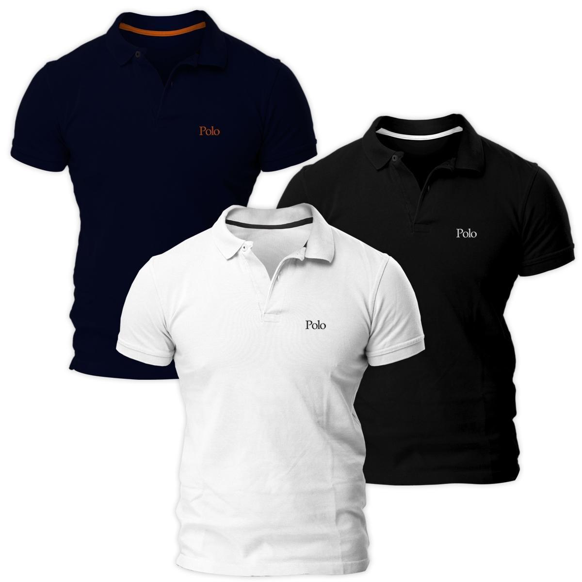 c37bbac3fa51d Kit Com Três Camisas Polo Básica Piquet Regular Masculina Polo Match -  Compre Agora