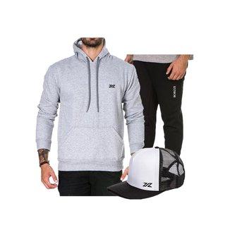 Kit Conjunto Borzzi Wear Moletom + Calça Moletom + Boné Masculino
