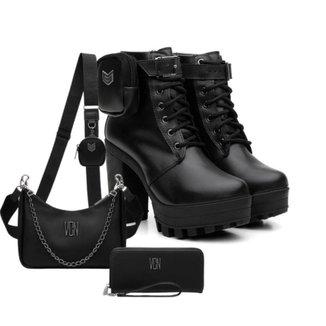 Kit Coturno Feminino Tratorado Bag + Bolsa Side + Carteira