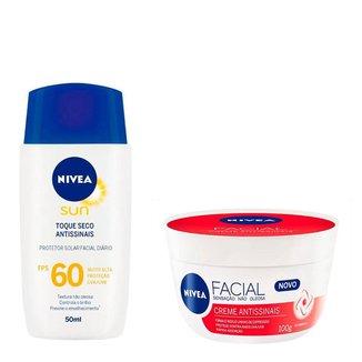 Kit Creme Antissinais Nivea Cuidados Faciais + Protetor solar facial