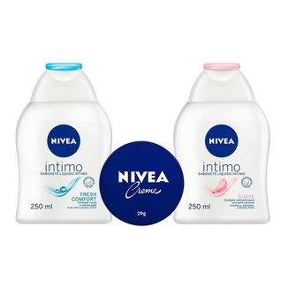 Kit Creme Hidratante Nivea Hidratação e Cuidados Íntimos  + Sabonete Íntimo