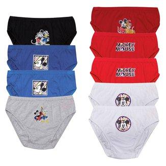 Kit Cueca Slip Infantil Evanilda Disney Mickey Mouse 9 Peças