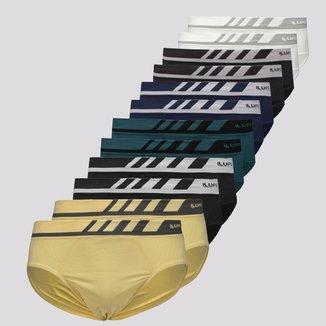 Kit de 12 Cuecas Slip Lupo Microfibra Sem Costura