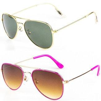 Kit De 2 Óculos De Sol Infantil Redhot Aviador Feminina