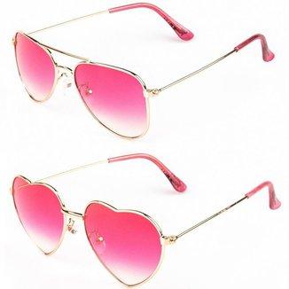 Kit De 2 Óculos De Sol Infantil Redhot Redondo Coração Feminina