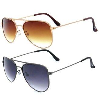 Kit de 2 Óculos de Sol Infantil Zjim Aviador Rosê/Marrom e Grafite