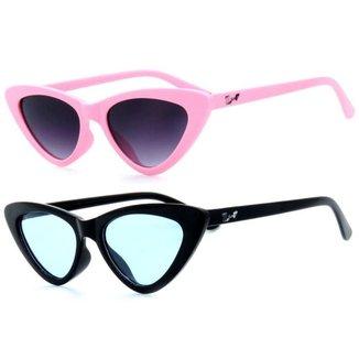 Kit De 2 Óculos De Sol Infantil Zjim Gatinho Redondo Masculina