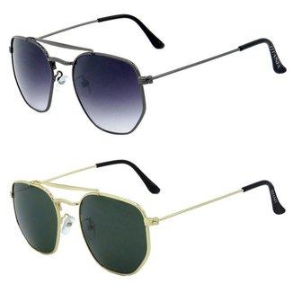 Kit de 2 Óculos de Sol TITANIA em Metal Monel® Redondo Dourado / Grafite